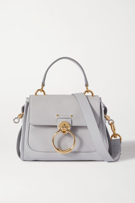 Chloé Tess Day Mini Textured And Smooth Leather Shoulder Bag - White