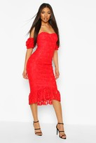 boohoo Cupped Frill Hem Lace Midi Dress