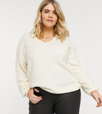 Vero Moda Curve jumper with v neck and sleeve detail in cream
