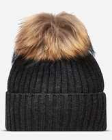N.Peal Ribbed Cashmere Hat With Raccoon Pom
