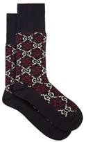 Gucci - Gg Intarsia Cotton Blend Socks - Mens - Navy
