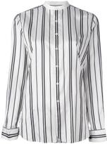 Polo Ralph Lauren striped collarless shirt - women - Silk - 2
