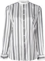 Polo Ralph Lauren striped collarless shirt - women - Silk - 6