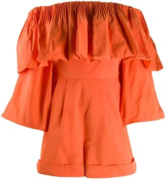 Valentino Orange Off-shoulder Ruffle Playsuit