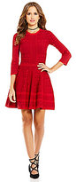 Gianni Bini Tracy A-Line Crew Neck Jacquard Sweater Dress
