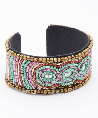 Pavcus Designs Women's Bracelets fuschia/green - Fuchsia & Green Mosaic Bead Cuff