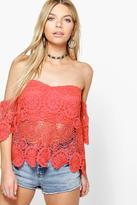 Boohoo Cora Crochet Scallop Edge Off The Shoulder Top