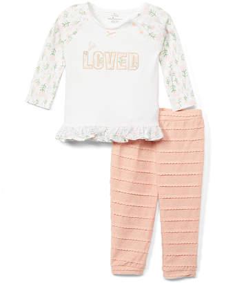 Baby Starters Girls' Casual Pants White - White 'Loved' Ruffle-Hem Raglan Top & Pink Stripe Pants - Newborn & Infant