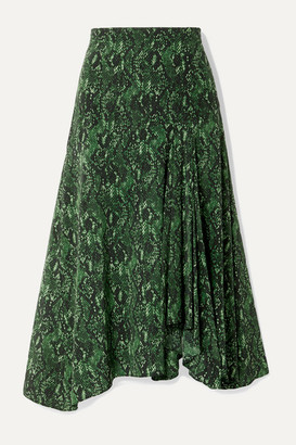 Veronica Beard Ramos Snake-print Stretch-silk Midi Skirt