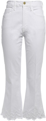 Frame Broderie Anglaise-trimmed High-rise Kick-flare Jeans