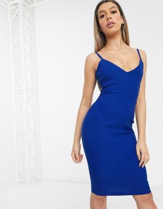 Vesper midi bodycon dress in cobalt blue