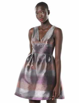 Laundry by Shelli Segal Women's Tonal Stripe Fit and Flare Dress