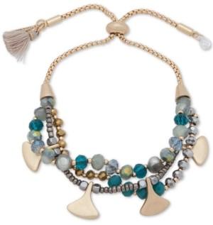 lonna & lilly Gold-Tone Beaded Multi-Row Slider Bracelet