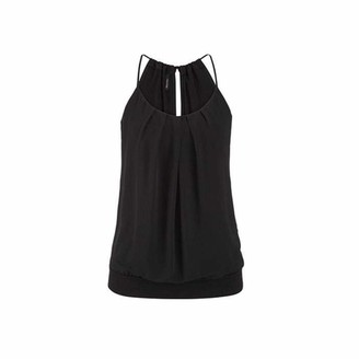 MRULIC Elegant Cool Ladies Women Summer Loose Wrinkled Sleeveless Sexy Casual Party Holiday O Neck Cami Tank Tops Vest Blouse Tops Tees Pulli (Navy UK-16/CN-3XL)