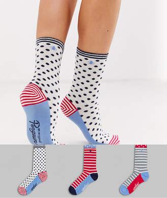 Original Penguin Penguin 3 Pack sock giftbox in striped and spot-Multi