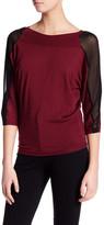 Lafayette 148 New York Contrast Sleeve Panel Dolman Silk Sweater
