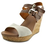 Dr. Scholl's Mashup Open Toe Canvas Wedge Sandal.