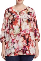 NYDJ Plus Abstract Floral Pleat Back Blouse