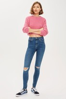 Topshop Womens Mid Blue Ripped Jamie Jeans - Mid Stone