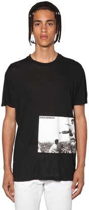 DSQUARED2 Bruce Lee Printed Cotton Jersey T-Shirt