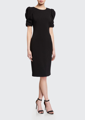 Badgley Mischka Ruched Short-Sleeve Crepe Sheath Dress