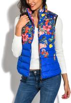 Blue Floral Puffer Vest
