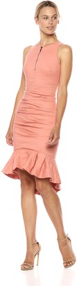 Nicole Miller Women's Cotton Metal Center Front Zip Ruffle Hem Dress