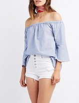 Charlotte Russe Pinstripe Off-The-Shoulder Bell Sleeve Top