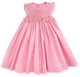 Luli & Me Sleeveless Floral-Trim Smocked Dress, Pink, Size 12-24 Months