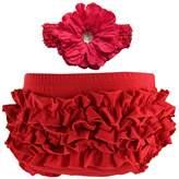 Wennikids Baby Girls' Cotton Ruffle Diaper Covers Headband Set - Multicolor Small