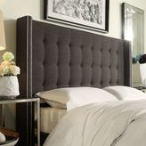 HomeVance Simone Tufted Wingback Dark Gray Queen Headboard