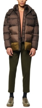 Andrew Marc Men's Dovers Colorblocked Puffer Jacket with Inset Bib & Removable Hood