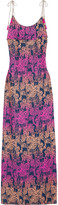 Matthew Williamson Ruffled printed silk-crepe maxi dress