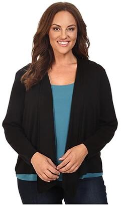 Nic+Zoe Plus Size 4-Way Cardy (Black Onyx) Women's Sweater