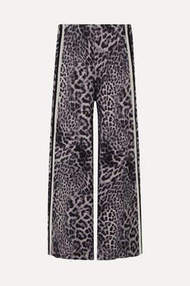 Norma Kamali Elephant Striped Leopard-print Stretch-jersey Wide-leg Pants - Gray