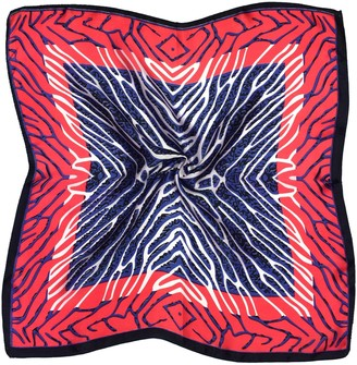 Bees Knees Fashion Red Navy Abstract Print Fine Small Silk Square Scarf