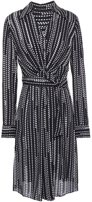 Elie Tahari Saxon Belted Printed Crepe De Chine Shirt Dress