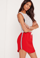 Missguided Side Stripe Crepe Skirt Red
