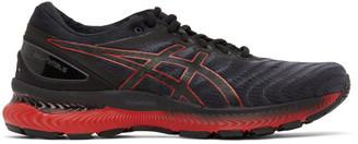 Asics Black and Red Gel-Nimbus 22 Sneakers