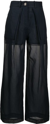 Eudon Choi Layered Wide Sheer Trousers