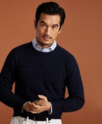 Brooks Brothers Golden Fleece 3-D Knit Fine-Gauge Cashmere-Silk Textured Crewneck Sweater