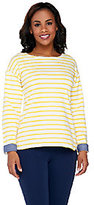 Denim & Co. As Is Active Striped Long Sleeve Top w/ Chambray