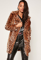 Missguided Brown Leopard Print Oversized Collar Faux Fur Coat