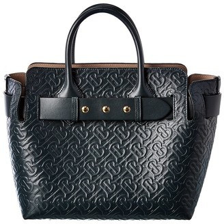 Burberry Small Monogram Triple Stud Leather Tote
