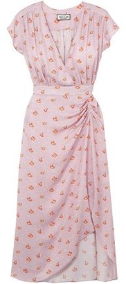 Paul & Joe Marinette Gathered Floral-print Satin-jacquard Dress