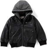 First Wave Little Boys 2T-7 Hooded Pleather Jacket