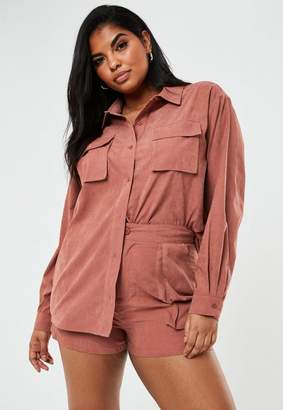 Missguided Plus Size Rust Co Ord Twill Utility Shirt