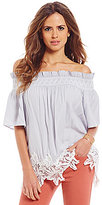 Gianni Bini Fiji Off The Shoulder Lace Applique Blouse