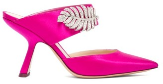 Nicholas Kirkwood Monstera Crystal-embellished Satin Mules - Womens - Fuchsia