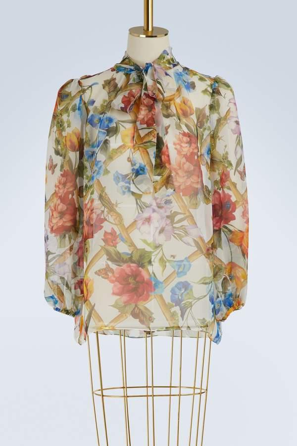 Dolce & Gabbana Bamboo-print silk shirt